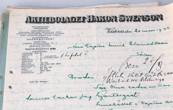 Korrespondens, 1938, ICA Eols ABs arkiv.