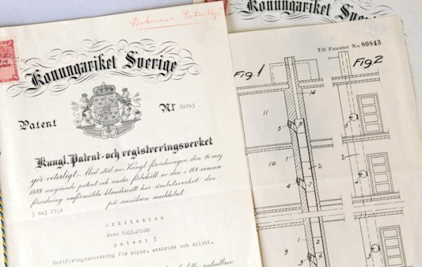 Patentritning för sopnedkast, ca 1930, HSBs arkiv.
