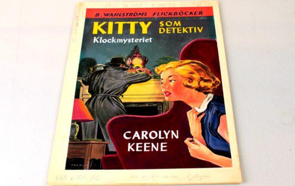 Omslag till första Kittyboken, 1952, B. Wahlströms bokförlag ABs arkiv.